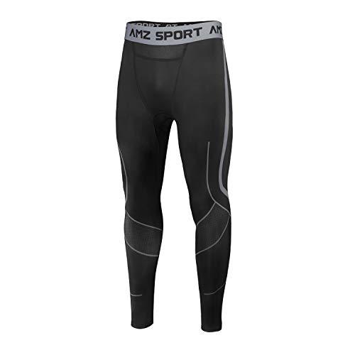 AMZSPORT Pantalones de Compresion Hombre Deporte Mallas Running de Secado Rápido, Negro XL