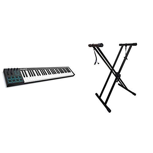 Alesis V61 - USB MIDI Pad/Tastatur Controller mit 61 Tasten, 8 anschlagdynamische-Pad mit 4 zuweisbare Regler und Taster & RockJam xfinity doppelstrebiger pre hochparametrierbares Keyboard-Ständer