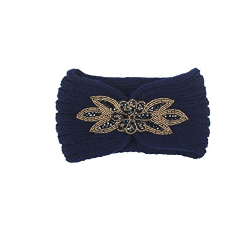 Fascia per fiori in cristallo Morbido scaldacollo invernale perline Fascia per capelli a maglia floreale per donna, blu scuro