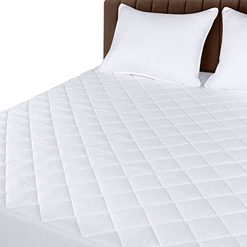 Utopia Bedding Quilted Fitted Mattress Pad (Queen) - Elastic Fitted Mattress Protector - Mattress Cover Stretches up to 16 Inches Deep - Machine Washable Mattress Topper