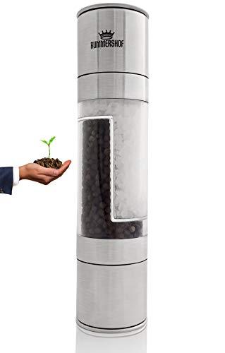 Rummershof Salz und Pfeffer Mühle mit Keramikmahlwerk - Limited Edition - Pfeffermühle Salzmühle 2-in-1 + EIN gepflanzter Baum