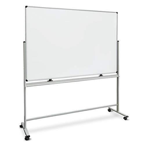 Whiteboard Stativdrehtafel | 5 Größen wählbar | mobiles Whiteboard mit Ständer, Rollen und Stifteablage | magnetisch (80x110 cm)
