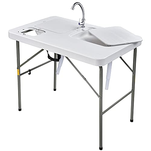 Yescom Portable Dual Sink Fish Fillet Table Folding Cleaning Cutting Faucet Camp Garden