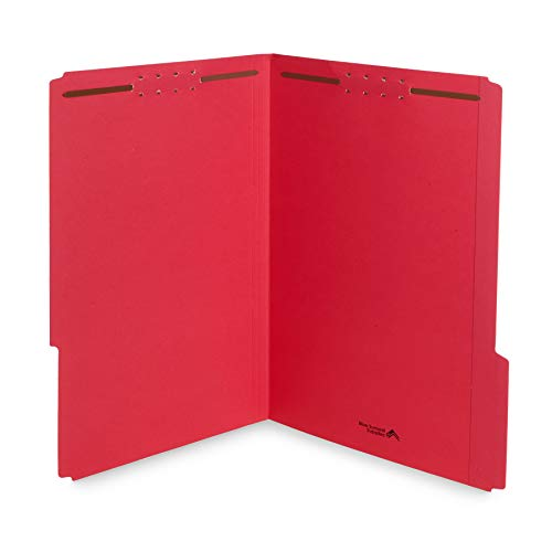 Blue Summit Supplies Red Legal File Folders with Fasteners, Legal Size, 1/3 Cut Reinforced Tabs, Durable 2 Prongs, Designed to Organize Standard Medical or Law Files, 50 Pack