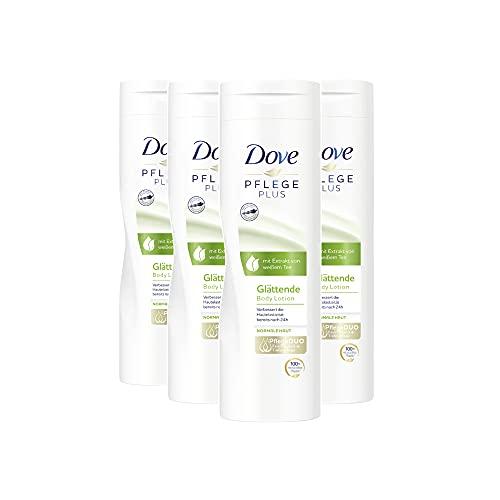 Dove Body Lotion Damen für trockene Haut 4er Pack PFLEGE PLUS Glättende (4 x 250 ml)