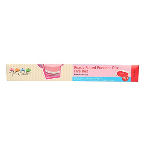 FunCakes Disco de Fondant Rojo Fuego: Delicioso Sabor a Vainilla Libre de Halal, Kosher y Gluten. 36 cm de Circunferencia y 3 mm de Espesor. 430 g (FC97003)