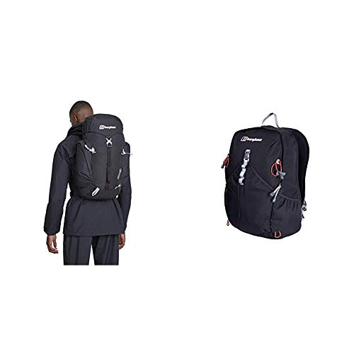 Berghaus Arrow Men's Outdoor Backpack available in Evening Black/Extrem Red - 30 Litres & TwentyFourSeven Plus 25 Litre Outdoor Rucksack Backpack, Black