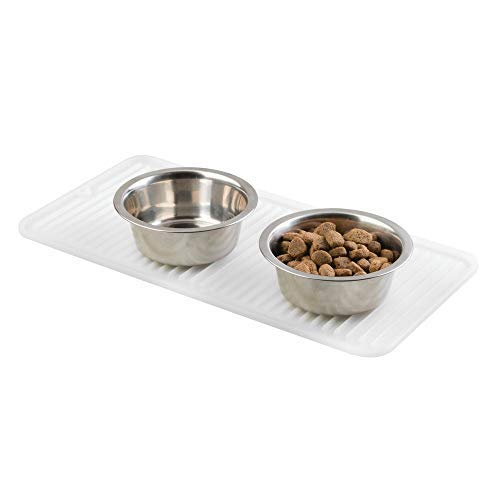 Midsy Futtermatte (klein) - transparente Napfunterlage Silikon für Hund, Katze & Co. - Bodenschutzmatte für einen großen oder Zwei kleine Futternäpfe - 40,64 cm x 20,32 cm Cremefarben