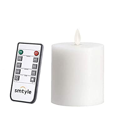smtyle White Battery Operated Candles with Moving Flame Wick and Timer, Flameless Flickering LED Pillar Candles