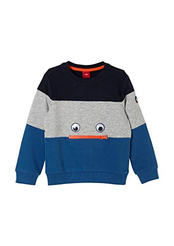 s.Oliver Jungen Sweatshirt mit Artwork Blue blockstripes 116/122.REG
