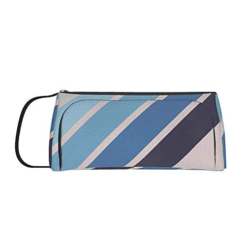 Estuche para lápices, color azul Estuche para lápices a la deriva Estuche de lona para rotulador de bolígrafo Bolsa de maquillaje con doble cremallera Bolsa organizadora de papelería para estu