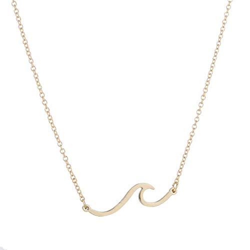 MNMXW Minimalism Beach Sea Wave Collar Mujer Diseño Simple Surge Collares Joyería Regalo Mujer-Oro