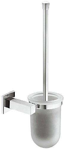 Gedotec WC Bürstenhalter Messing eckig Toilettenbürsten-Garnitur verchromt poliert Klobürsten-Set für Wand-Montage | Nr. H5750 | 143 x 375 x 126 mm | WC-Bürstengarnitur inkl. Glas | 1 Stück