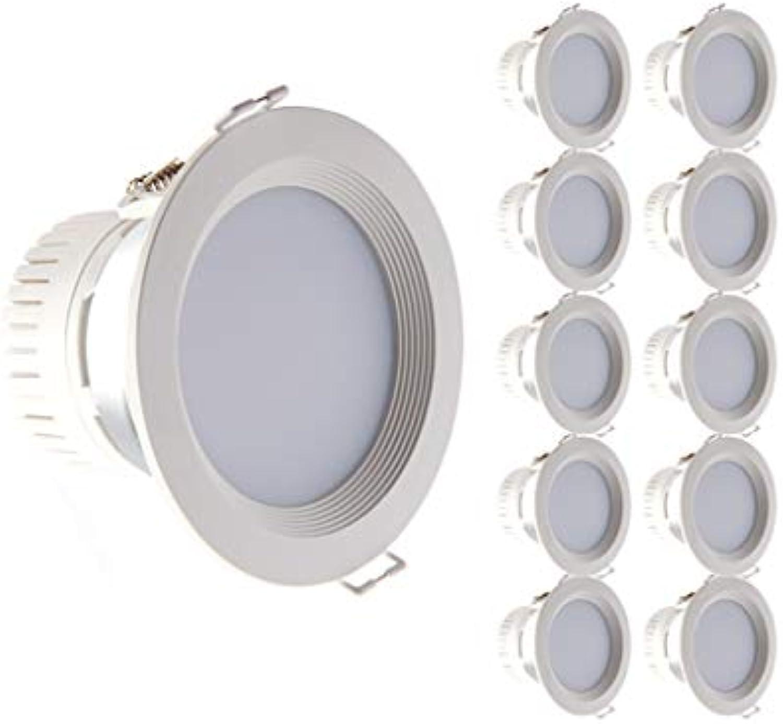 10 Satz 3 Zoll Grüniefte Downlight LED Licht Deckenleuchte Spotlight 3000K Warmes Licht Einfach zu installieren (Farbe   Weies Licht, Farbe   4w)