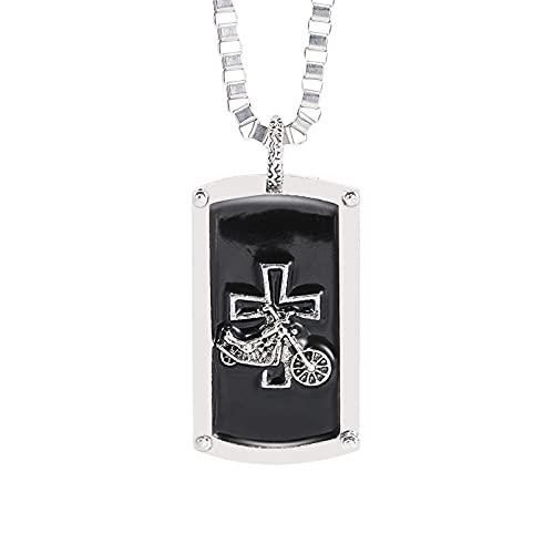 Syina Collar con colgante de cruz para hombre, de acero inoxidable, con grabado de estilo motero, para hombre