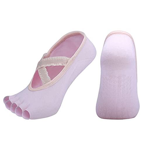 ZSQAW Calcetines de Yoga con Encaje para Yoga Caliente, Barre, Pilates, Ballet o Uso doméstico Calcetines pegajosos para Mujeres (Color : Pink, Size : EUR 35-40 US 4.5-8.5)
