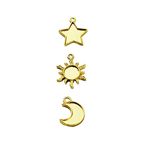 SKYVII 30 piezas de marco de metal, estrella y luna sol, colgante de bisel abierto, cabujón de resina UV, para hacer joyas de fundición, manualidades