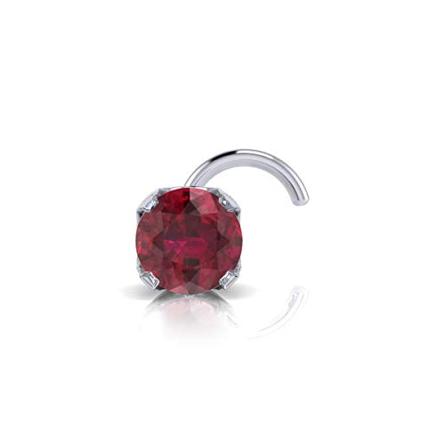 14K White Gold Nose Ring Stud For Nose Piercing, 0.03 Carat Ruby, 2MM
