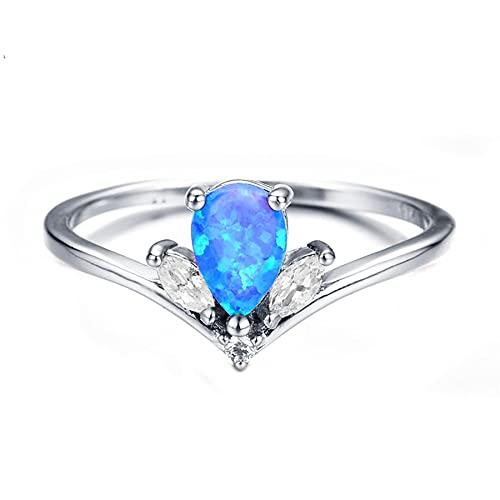 Anillos de ópalo de fuego oceánico para mujer, anillo de piedra de nacimiento con forma de lágrima de color plateado, 8 azul