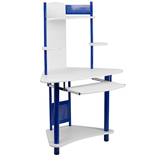 Flash Furniture Blue Corner Computer Desk with Hutch , White/Blue