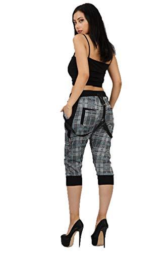 Crazy Age Pantalones de camuflaje Capri para mujer, pantalones cortos para boyfriends, con tirador Azul (2898). S