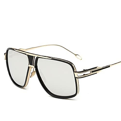 Gafas De Sol Gafas De Sol Steampunk para Hombres Y Mujeres, Gafas De Sol Vintage con Cara Grande, Gafas De Sol De Gran Tamaño para Hombre Y Mujer, Plateado Dorado