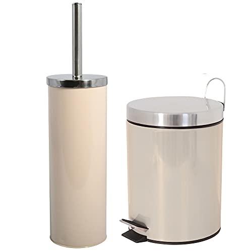 Wellhome Set decoración baño 3 Litros juego, en color beige, Acero inoxidable y metal, Papelera , 25 alto x 17 cms Escobillero , 9.3x38.5 alto cms