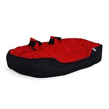 dibea Lit pour Chien - Coussin pour Chien - Canapé pour Chien Lavable avec Coussin réversible, 110x80x23 cm, Rouge-Noir (Taille et Couleur au Choix)