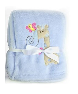 First Steps Newborn Soft Fleece Baby Blanket Blue with Giraffe Design