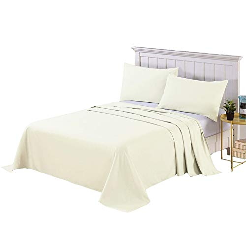 フラットシーツ セミダブル ベッドシーツ 敷きシーツ 厚手生地 ホテル品質 柔らか 抗菌 速乾 耐久性良い 170×250cm アッパーシーツ マットレスカバー ベージュ