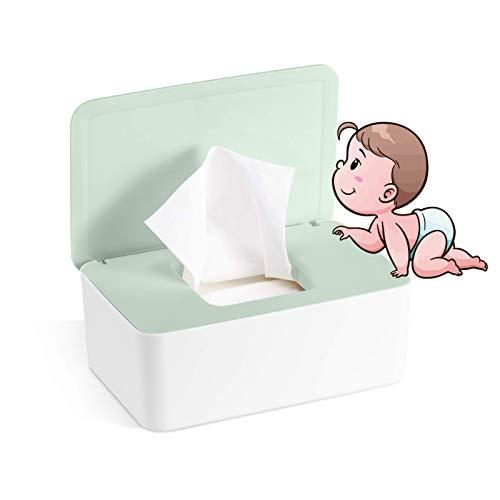 Caja para Toallitas Húmedas, Dispensador de Toallitas Humedas, Caja de almacenamiento de pañuelos con tapa, Caja de almacenamiento de pañuelos a prueba de polvo para Oficina en casa (verde)
