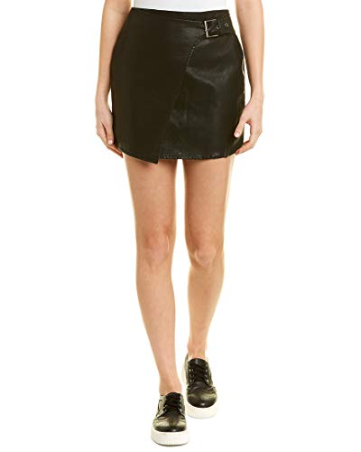 Jack by BB Dakota Junior's Fashion Killa Textured Vegan Leather Skirt with Side Buckle, Black, 8