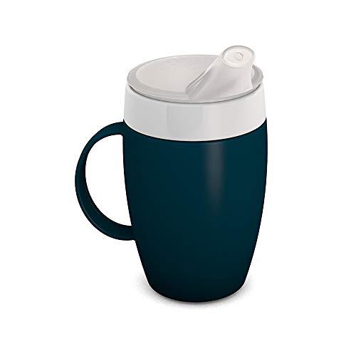 Ornamin Becher mit Trink-Trick, Thermofunktion und Schnabelaufsatz 140 ml petrol (Modell 905 + 806) / Thermobecher, Spezial-Trinkhilfe, Schnabelbecher