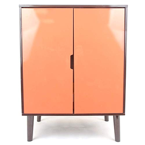Penn-Plax Cat Walk Furniture: Contemporary Home Cat Litter Hide-Away Cabinet – Espresso with Orange Doors
