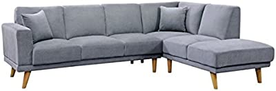 Amazon.com: Modern Large Velvet Fabric Sectional Sofa, L ...