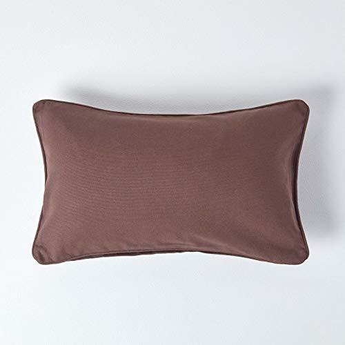 Homescapes–Funda de Cojín Chocolate–100% Algodón, 100% Algodón, Marrón, 30 x 50 cm