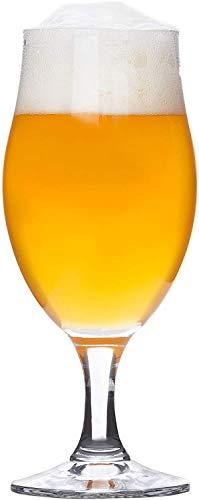 Biergläser | 6er Bierset | Pilstulpe | 0.3L | edle Bier Tulpe | Stiel-Gläser klar | Cocktail-Becher | Glas-Geschirr | Party-Kelche| inkl. Kemes Sticker
