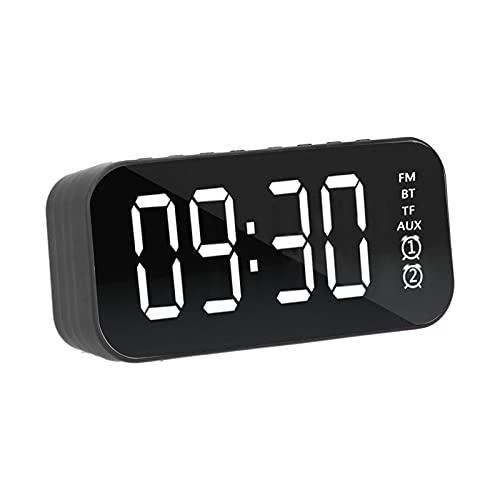 SONK Reloj Despertador Digital, Mini Reloj con Altavoz inalámbrico Bluetooth Pantalla LCD Radio FM y micrófono Integrados Tarjeta enchufable Compatible con reducción de Ruido, Tiempo de Dormir