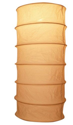 Opvouwbare Lampenkap/plafondlamp/plafondlampbuis, Handgemaakt in Bali, Katoen, Natuurlijk Wit, Katoenenstof, Kleur: Natuurlijk Wit, 50x26x26 cm, Aziatische Plafondlampen Papieren Lampen Stof
