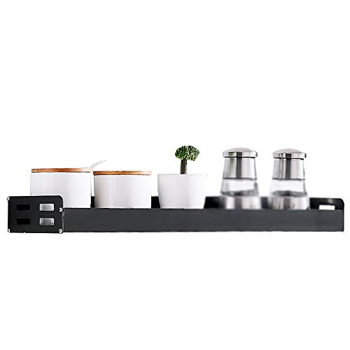 LUO Floating Shelves Kitchen Shelf with Hooks, Wall-Mounted, Punch-Free Seasoning, Kitchen Utensils, Shelf, Various Styles for Balcony, Kitchen and Bathroom (Size : 50cm)