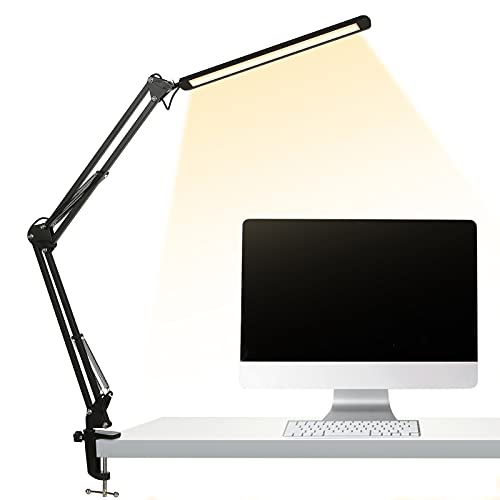 Lampada da scrivania a LED 12W,Lampada da Tavolo con morsetto,3 modalità di colore,10 livelli di luminosità regolabili,,Lampada Pieghevole USB per ufficio,lettura,studio