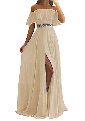 LINDO NOIVA Women's Off The Shoulder Bridesmaid Dresses Long Beaded Prom Chiffon Dress Champagne 2 LN184