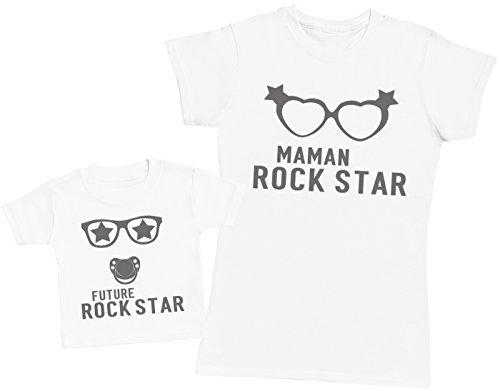 Future Rock Star garçon - Ensemble Mère Bébé Cadeau - Femme T Shirt & bébé T-Shirt - Blanc - S & 3-6 Mois