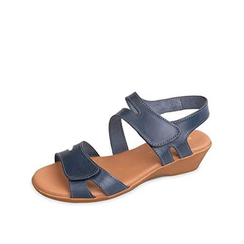Valleverde 34208 Calzatura Comoda Sandalo Regolabile con Strappo Blu in Pelle (Numeric_38)