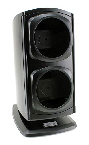 [Newly Upgraded] Versa Automatic Double Watch Winder in Black - Quiet Japanese Motors, Independently Controlled Settings, 12 Different Settings, Adjustable Watch Pillows
