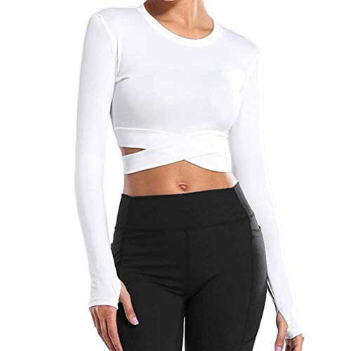 YNALIY Damen Gym Crop Top Sports Bauchfreie Oberteile Mädchen Fitness Yoga Laufshirt Kurzarm Tee Shirt (Long Sleeve White, XL)