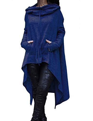 Legou Sweat à Capuche Parker Longue Cou Ras Femme XL Bleu