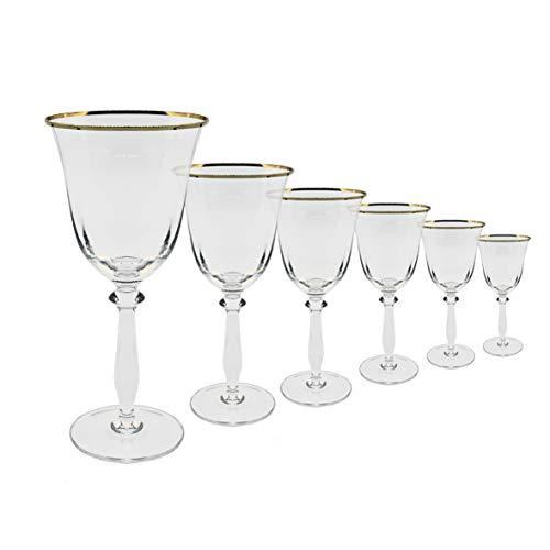 Copas vino filo oro - (Pack 6) - cristal - 33 cl