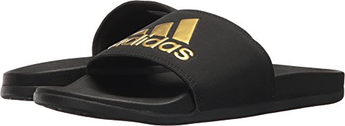 adidas Women's Adilette Comfort Sport Sandal, Core Black/Gold Metallic/Core Black, 7