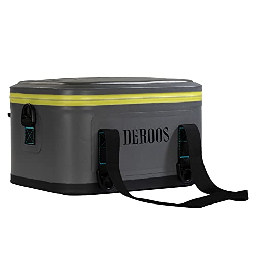 DEROOS Cooler Bag Deep Freeze Zipper Hardbody Cooler Insulated Lunch Box Leakproof with 48-72-Hour Ice Retention for Camping, Picnic, BBQ, Grocery Shopping, Camping and Road Trips (18-Can, 10L, Grey)